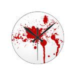 Blood Splatter Gunshot Wound Bleeding Bloody Round Clocks