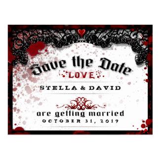 Blood Splatter Halloween Save Date PostCard
