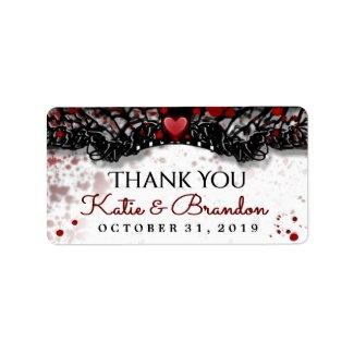 Blood Splatter Halloween Wedding Thank You Labels