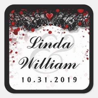 Blood Splatter Love Halloween Wedding Square Label