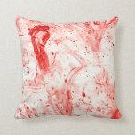 blood splatter mess throw pillows