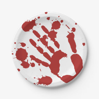 Blood Splattered Bloody Hand Print Paper Plate