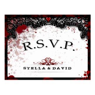 Blood Splattered Halloween Matching RSVP PostCard