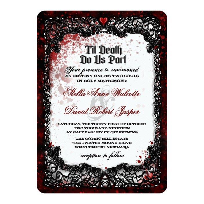 Blood Splattered Halloween Wedding Invitation Zazzle Com