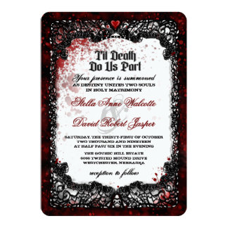 Blood Splattered Halloween Wedding RECEPTION INFO Invitation