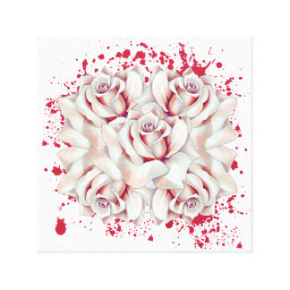 Blood splattered roses canvas print