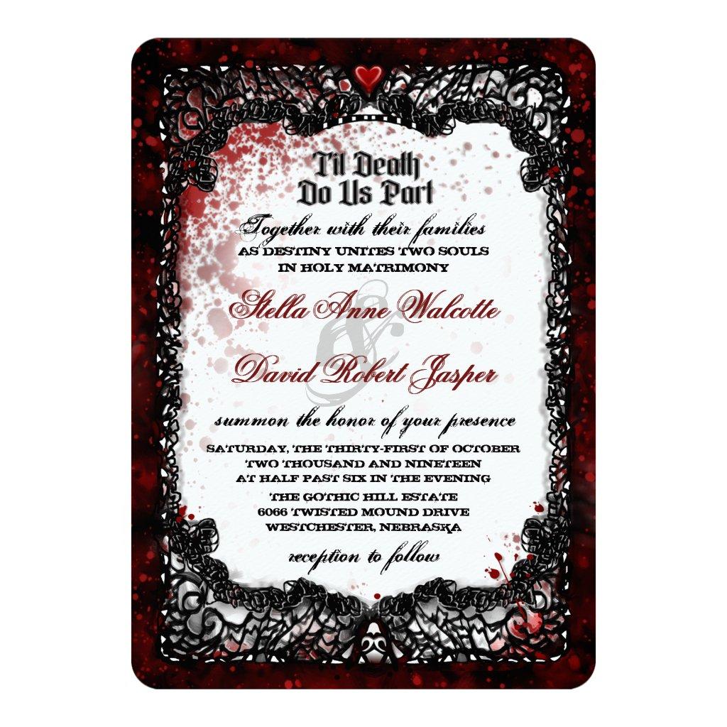 Blood Splattered Wedding Together With Wording