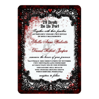"Blood Splattered Wedding ""Together With"" Invitation"