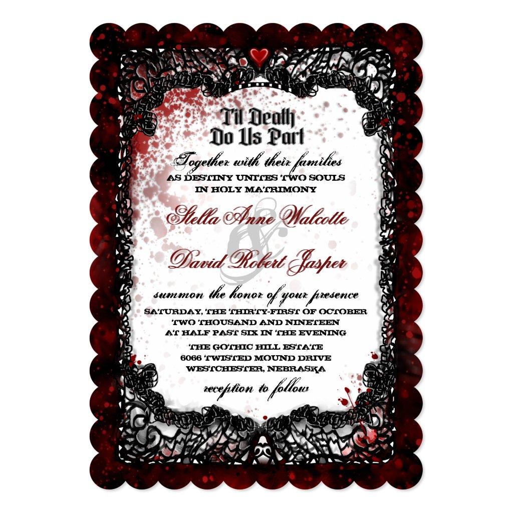 Blood Splattered Wedding Together With RECEPTION Card