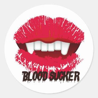 BLOOD SUCKER VAMP LIPS PRINT CLASSIC ROUND STICKER