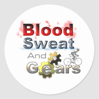 blood sweat and gears classic round sticker