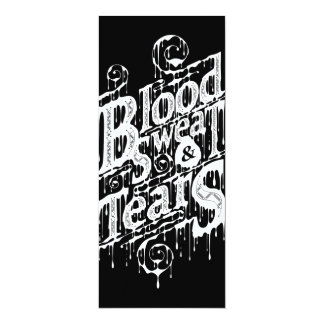 "Blood, Sweat, & Tears - Long Invite Card (Black) 4"" X 9.25"" Invitation Card"