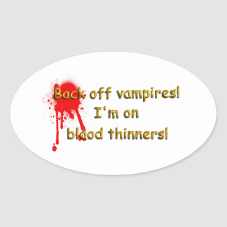 Blood thinners oval sticker