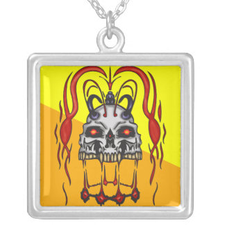Blood Thirsty Cyborg Skull Square Pendant Necklace