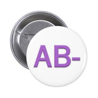 Blood Type AB Rh Negative Button