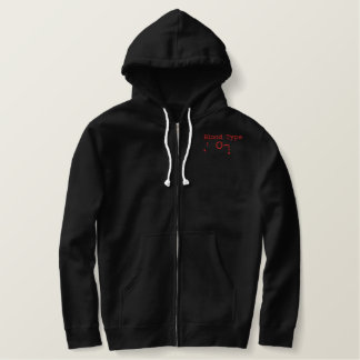 Blood Type O- Embroidered Hoodie
