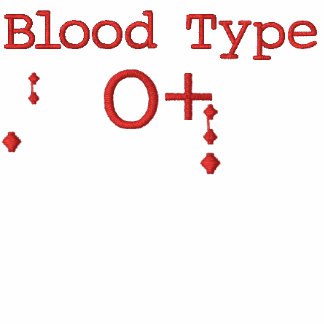 Blood Type O+ Embroidered T-shirt