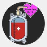 Blood type O Pegatina Redonda