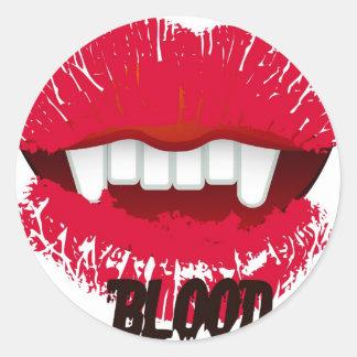 BLOOD VAMP LIPS PRINT CLASSIC ROUND STICKER