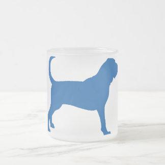 Bloodhound (darker blue) frosted glass coffee mug