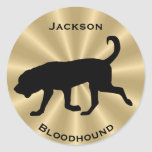 Bloodhound Dog Silhouette Customizable Text Classic Round Sticker