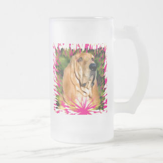 Bloodhound Frosted Glass Beer Mug
