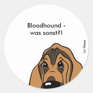 Bloodhound head classic round sticker