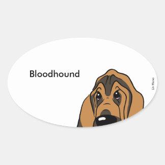 Bloodhound head oval sticker