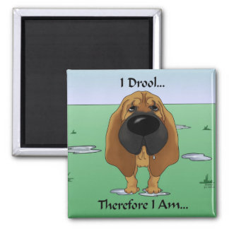 Bloodhound - I Drool...Therefore I Am.. 2 Inch Square Magnet