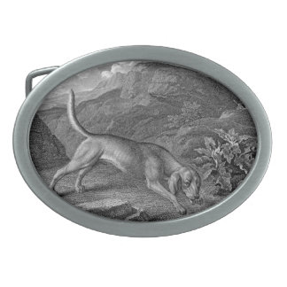 Bloodhound in Black and White Oval Belt Buckle