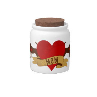 Bloodhound Mom [Tattoo style] Candy Jar