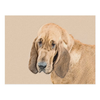 Bloodhound Painting - Cute Original Dog Art Postcard