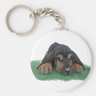 bloodhound puppy basic round button keychain