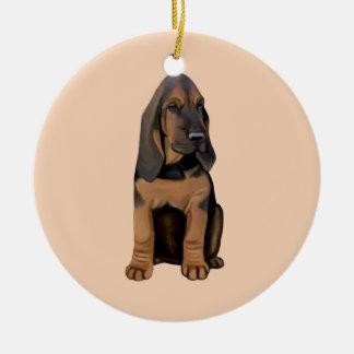 Bloodhound Puppy Ceramic Ornament