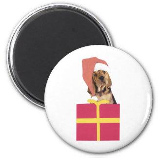 Bloodhound Santa Hat 2 Inch Round Magnet