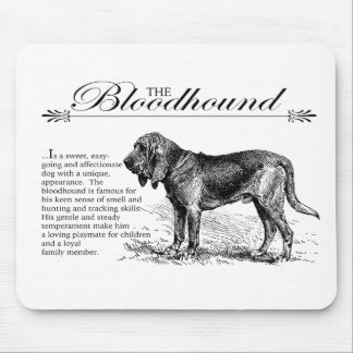 Bloodhound Vintage Storybook Style Mouse Pad