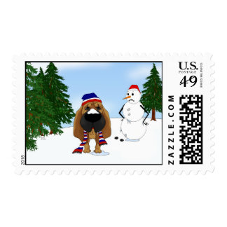 Bloodhound Winter Scene Postage Stamps