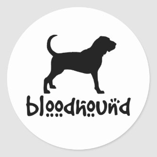 Bloodhound With Cool Text Classic Round Sticker