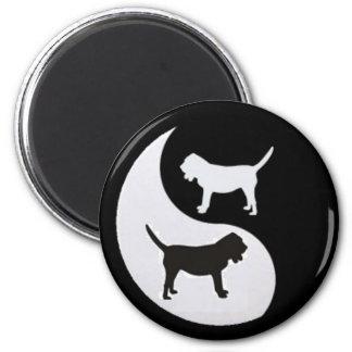 Bloodhound Yin Yang Pet Hound Dog Black & White 2 Inch Round Magnet