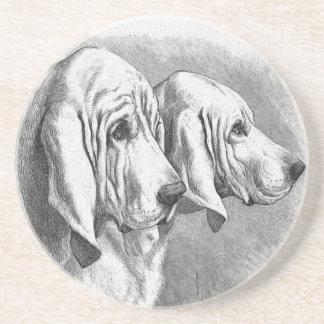 Bloodhounds Vintage Dog Illustration Coaster