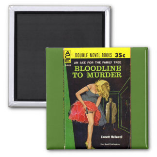 Bloodline to Murder pulp cover 2 Inch Square Magnet