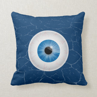 Bloodshot Blue Eyeball Throw Pillow
