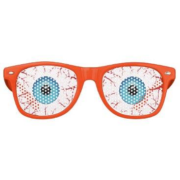 Beach Themed Bloodshot Blue Eyeballs Halloween Retro Sunglasses