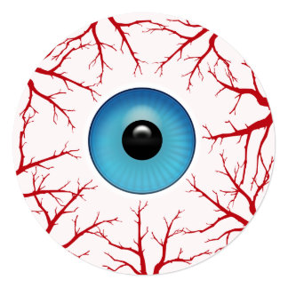 Bloodshot Eyeball Round Halloween Party Card