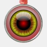 Bloodshot Eyeball Yellow Iris Round Pupil Metal Ornament