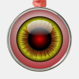 Bloodshot Eyeball Yellow Iris Round Pupil Metal Ornament