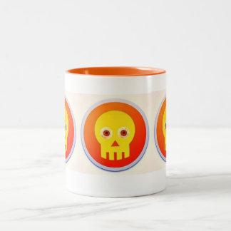 bloodshot skull Two-Tone coffee mug