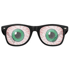 Bloodshot Veins Green Eyes Halloween Party Costume Retro Sunglasses at Zazzle