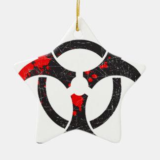 Bloody Biohazard Symbol Ceramic Ornament