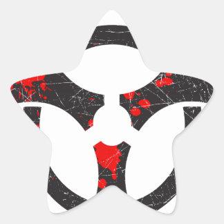 Bloody Biohazard Symbol Star Sticker